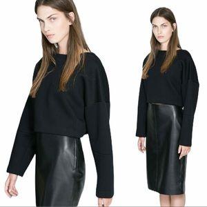 Zara cropped top pullover sweatshirt scuba black